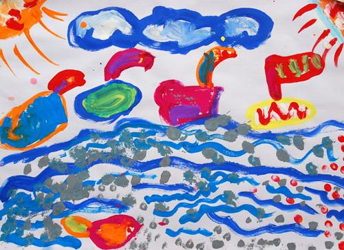 评价完小朋友的画后,uu主动要求画画,于是就有了《天鹅一家》