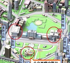 a la izquierda del dibujo está el Teatro, en el centro-abajo el Museo de Shanghai y a la derecha, el Museo de las maqueta